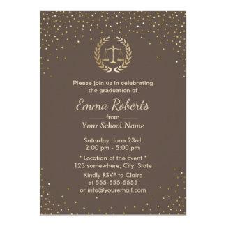 Law School Graduation Party Gold Confetti Modern Card