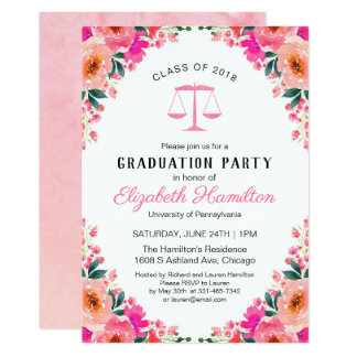 Law School Graduation Party Hot Pink Floral Card