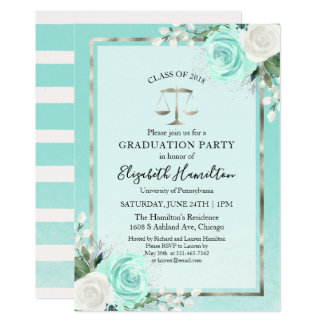 Law School Graduation Party Teal Floral Card