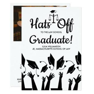 Law School Hats Off Grad Photo Graduation Party Card