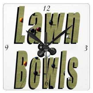 Lawn Bowl Dimensional Logo Square Wall Clock. Square Wall Clock