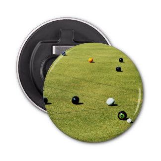 Lawn Bowls Action, Magnetic Bottle Opener. Bottle Opener