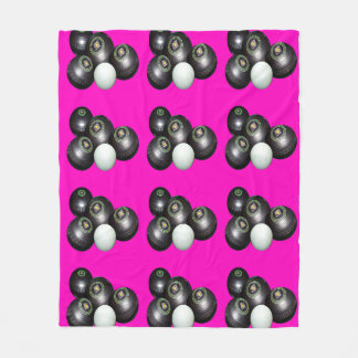 Lawn Bowls And Jack On Hot Pink Background, Fleece Blanket
