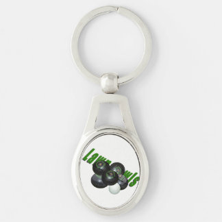 Lawn Bowls And Logo, Silver Metal Oval Keyring. Keychain