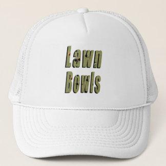 Lawn Bowls Dimensional Logo, White Truckers Cap