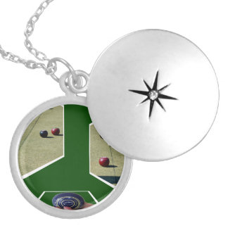 Lawn_Bowls_Dimensions_Locket_Pendant_Necklace Silver Plated Necklace