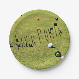 Lawn Bowls Game And Logo, Paper Party Plate. 7 Inch Paper Plate