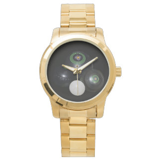 Lawn_Bowls,_Lets_Play, Large Unisex Gold Watch. Wristwatches