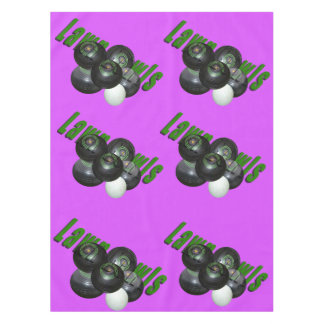 Lawn Bowls Logo, Magenta Cotton Table Cloth. Tablecloth