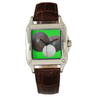 Lawn_Bowls,_Old_School_Ladies_Brown_Leather_Watch Watches