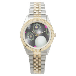 Lawn Bowls On Pink, Unisex Two Toned Watch. Wrist Watches