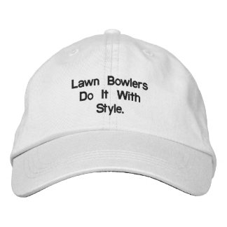 Lawn_Bowls_White_Adjustable_Cap. Embroidered Hat