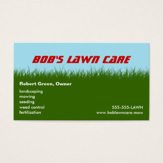 Lawn Care - Green Grass - Landscaping Mowing Business Card