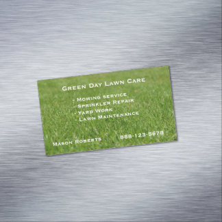 Lawn Care Green Lawn Landscaping Magnetic Business Card