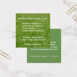 Lawn Care Green Lawn Landscaping Square Business Card