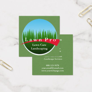 Lawn Care Landscaping Logo Square Business Card