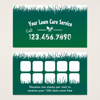 Lawn Care & Landscaping Professional Loyalty Punch Business Card