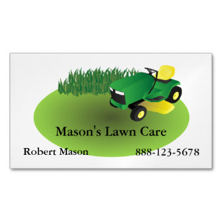 Lawn Care Lawn Mower Landscaping Grass Business Card Magnet