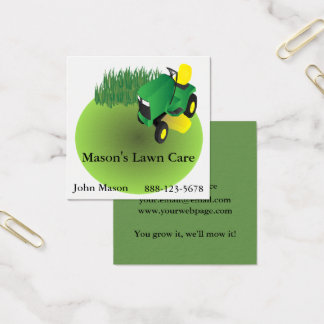 Lawn Care Lawn Mower Landscaping Grass Square Business Card