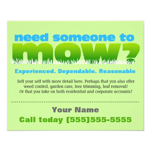 lawn care mow grass landscaper small personalized flyer