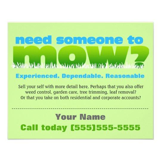 Lawn Care Mow Grass Landscaper Small Flyer Design Zazzle