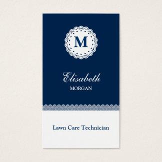 Lawn Care Technician Blue White Lace Monogram Business Card