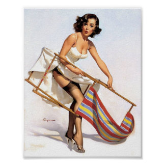 Lawn Chair Pin Up Poster