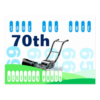 Lawn Mower 70th Birthday Party Save the Date Postcard