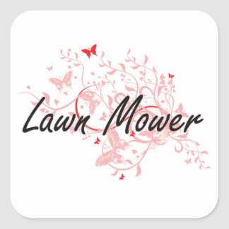 Lawn Mower Artistic Job Design with Butterflies Square Sticker