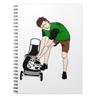 Lawn Mower Man Cartoon  Funny art Notebook
