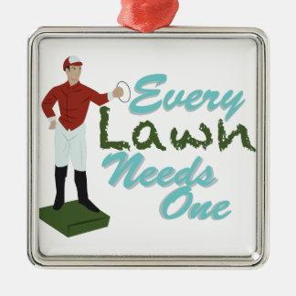 Lawn Needs One Silver-Colored Square Ornament