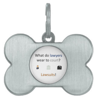 Lawsuits Joke Pet Name Tag