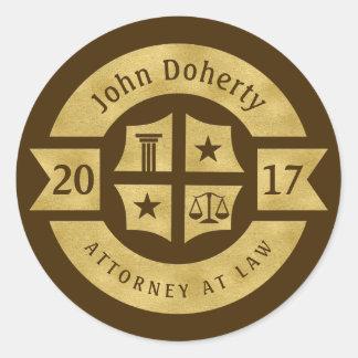 Lawyer 2017 Attorney At Law | Best Golden Classic Round Sticker