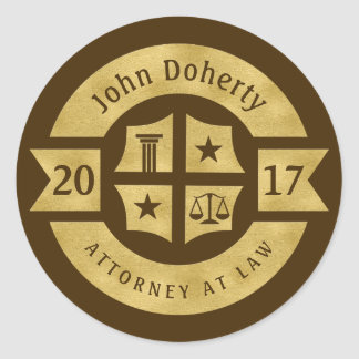 Lawyer 2017 Attorney At Law | Best Golden Round Sticker