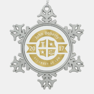Lawyer 2017 Attorney At Law | Decorative Golden Snowflake Pewter Christmas Ornament