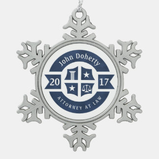 Lawyer 2017 Attorney At Law | Decorative Navy Blue Snowflake Pewter Christmas Ornament