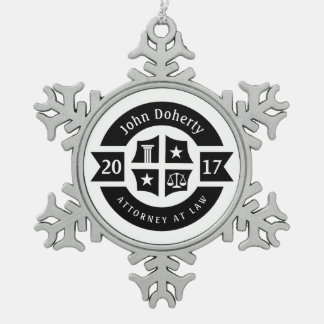 Lawyer 2017 Attorney At Law | Decorative Snowflake Pewter Christmas Ornament