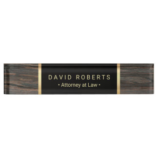 Lawyer Attorney Classic Black & Gold Wood Texture Name Plate