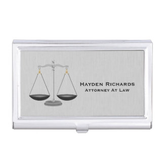 Lawyer Attorney Justice Scales Business Card Holder