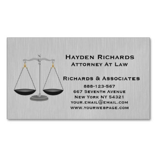 Lawyer Attorney Justice Scales Magnetic Business Card