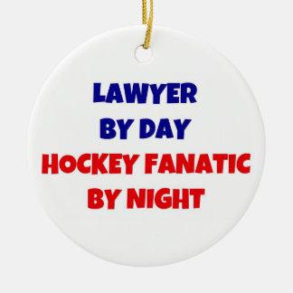 Lawyer by Day Hockey Fanatic by Night Round Ceramic Ornament