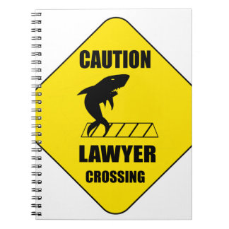 Lawyer Crossing with Shark Notebooks