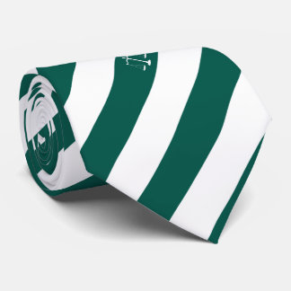 Lawyer Custom Initials Green Stripes Justice Scale Tie