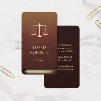 Lawyer Gold Scale of Justice Professional Law Book Business Card