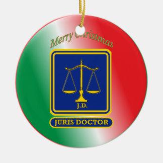 Lawyer JD Scales Shield Ceramic Ornament