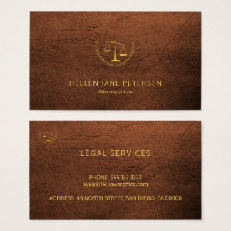 Lawyer upscale gold rusty brown leather look business card