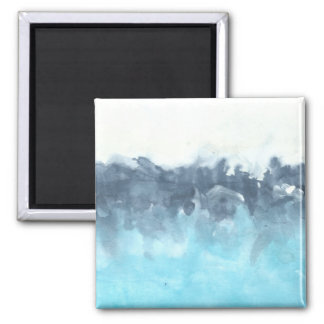 Layered Blues Abstract Painting 2 Inch Square Magnet