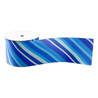 Layered candy stripes - cobalt and pale blue grosgrain ribbon