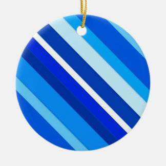 Layered candy stripes - cobalt and pale blue round ceramic ornament