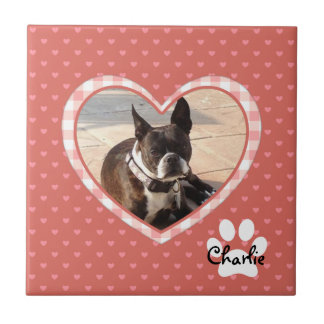 Layered Pink Heart Pattern with Plaid Frame Ceramic Tiles